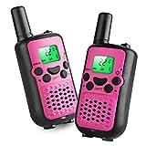Kids Walkie Talkies, 22 Channel FRS/GMRS 2 Way Radio 2 Miles (up to 3.7 Miles) UHF Handheld Walkie Talkies for Kids Pink