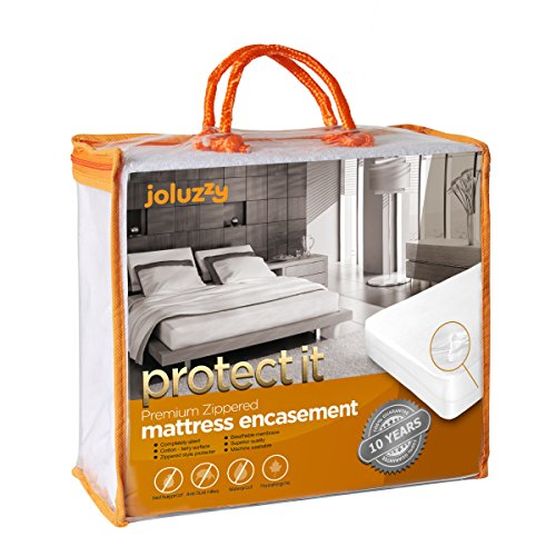 QUEEN Size Joluzzy 100% Bed Bug Proof / Waterproof - Zippered Mattress Protector - Cotton Terry / Breathable / Noiseless - Six-Sided Mattress Encasement - Hypoallergenic, Vinyl-Free. - Cotton Zippered Mattress Cover