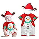 Rorychen Christmas Gift Short Sleeve Baby 2PCS Clothing Set(Romper,Hat) 0-8M White