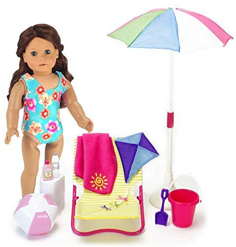 Terry Cloth Food (18 Inch Sophia's Doll Beach 10 Pc. Set of Pretend Play Doll Sun Umbrella, Kite, Towel, Beach Ball, Bucket, Shovel, Sunscreen, Water Bottle & Lounge Chair, for American Dolls & More! Doll Furniture Set)