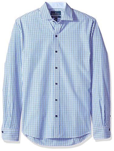 - BUTTONED DOWN Men's Slim Fit Spread-Collar Supima Cotton Dress Casual Shirt, Navy/Blue Tattersall, Large