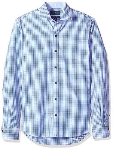 Fit Tattersall Cotton - BUTTONED DOWN Men's Slim Fit Spread-Collar Supima Cotton Dress Casual Shirt, Navy/Blue Tattersall, Medium Tall