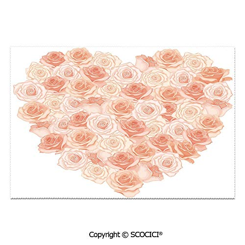 - SCOCICI Place Mats Set of 6 Personalized Printed Non-Slip Table Mats Valentines Day Inspired Heart Shaped Blooming Roses Bouquet with Romantic Design Decorative for Dining Room Kitchen Table Decor