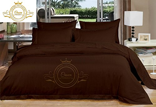 Brown Damask Stripe - Zoom Collection Hotel Beddings 850-Thread-Count 100% Egyptian Cotton 4 Piece Sheet Set 22