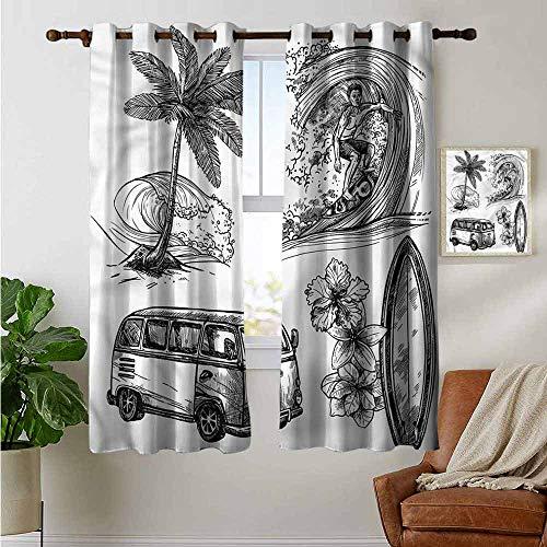 - petpany Blackout Curtains Surf,Surfboard Beach Van,Insulating Room Darkening Blackout Drapes for Bedroom 42