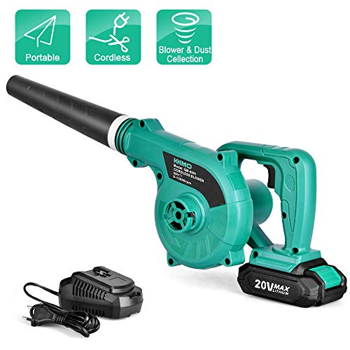 Cordless Leaf Blower - KIMO 20V Lithium 2-in-1 Sweeper/Vacuum 2.0 AH Battery for Blowing Leaf, Clearing Dust & Small Trash,Car, Computer Host,Hard to Clean Corner