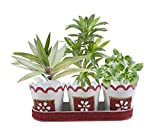 storeindya, Set of 3 Metal Flower Pots Stand Bucket Small Outdoor Storage Patio Planters Mini Tin Container Home Decor Garden Accessories (Lace Collection)