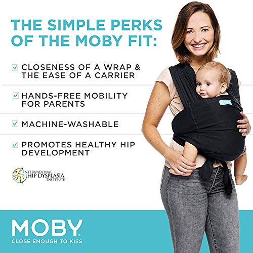 Wrap Baby Carrier Ideal for Parents On The Go A Registry Must Have and Newborn Wrap Carrier Moby Flex Baby Wrap Carrier - Toddler Black Infant Front and Hip Baby Wrap for Mom Or Dad