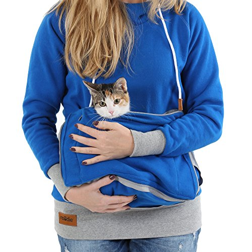 Roodie Pet Pouch Hoodie - Small Cat Dog Carrier Holder Sweatshirt - Womens Fit Kangaroo Pullover Without Ears and Paws - Blue with Gray Trim