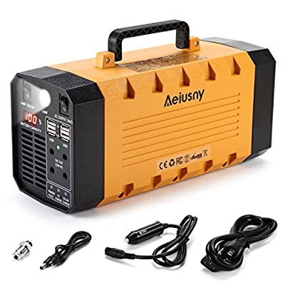 Aeiusny Solar Portable Generator, 288Wh UPS 500W Home Camping CPAP Emergency Backup Solar Charger Charged Solar Panel/Wall Outlet/Car