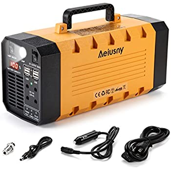 Aeiusny Portable Generator, 288Wh 500W Solar Generator, Portable Power Station CPAP Emergency Backup Battery Camping Power Supply Charged Solar Panel/AC ...