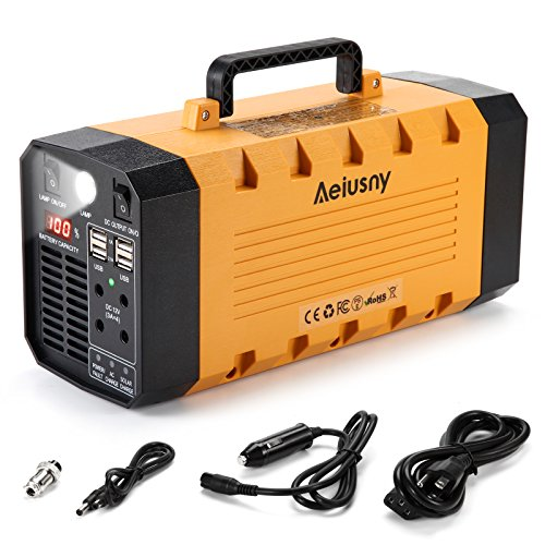 Aeiusny Portable Solar Generator, 288Wh 500W Lithium Battery Power Station, CPAP Backup Battery Power Supply for Camping Travel Fishing Hurricane