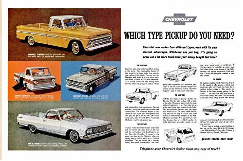 1964 CHEVROLET PICKUPS: FLEETSIDE, STEPSIDE, RAMPSIDE & EL CAMINO HUUGE VINTAGE COLOR AD DOUBLE PAGE - USA - EXCELLENT ORIGINAL !!