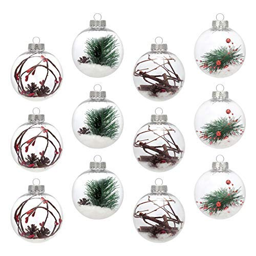 AMS 3.14/12ct Shatterproof Clear Plastic Christmas Ball Ornaments Decorative Xmas Balls Baubles Set with Stuffed Delicate Decoration (80mm)