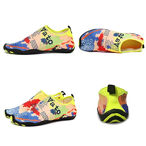 CIOR Männer Frauen Barfuß Quick-Dry Wasser Sport Aqua Schuhe mit 14 Drainage Löcher für Schwimmen, Walking, Yoga, See, Strand, Garten, Park, Fahren Gelb