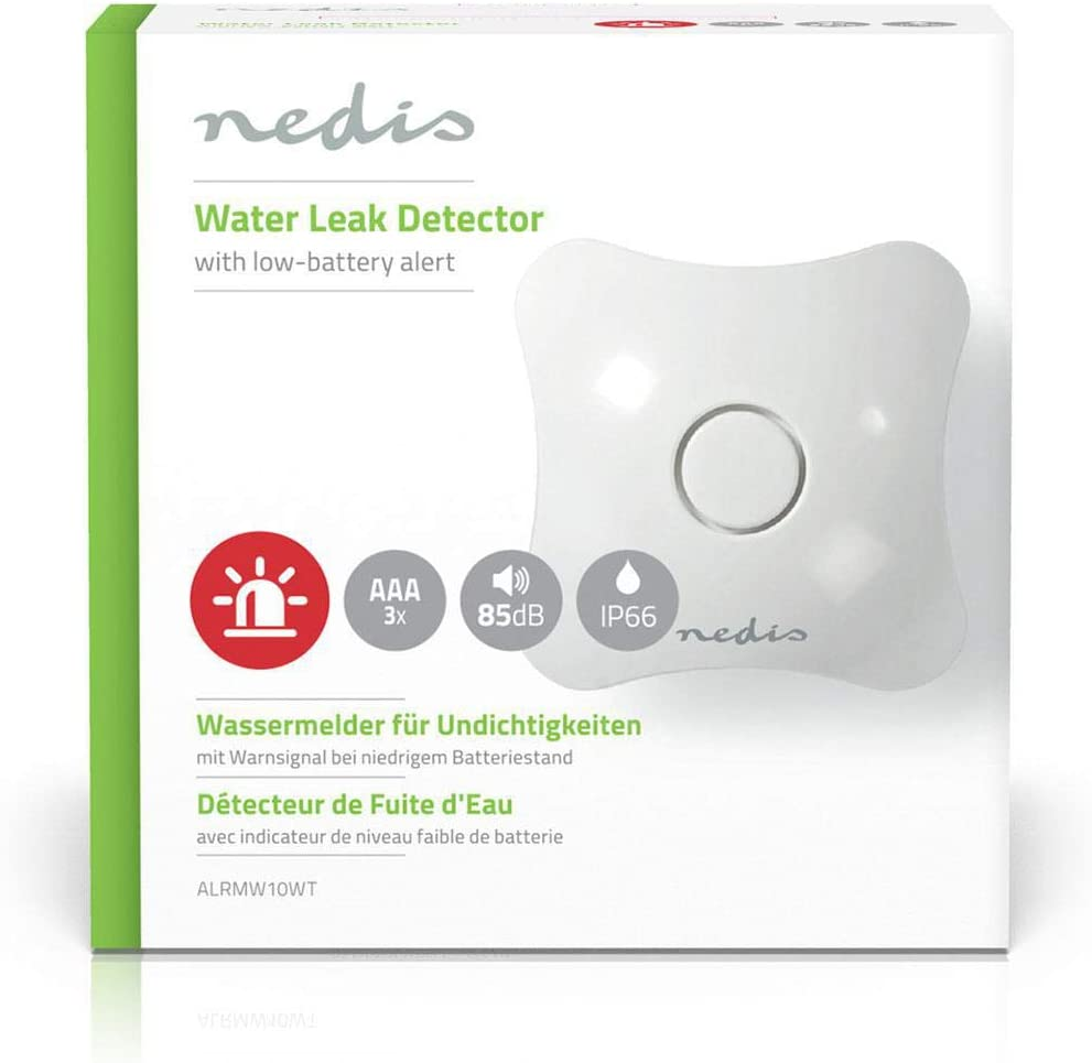 Nedis Water Leak Detector Integrated Siren Stand-Alone Easy to Install