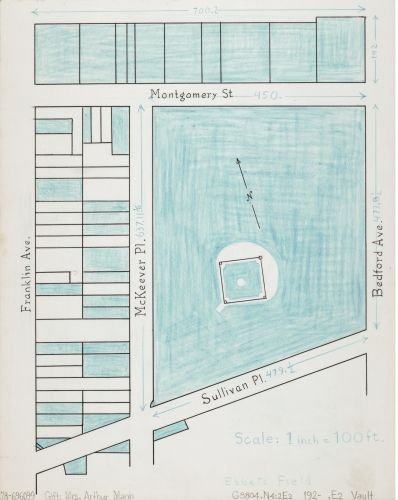 1920 Map Ebbets Field. - Size: 18x24 - Ready to Frame - New York | New York (State) | Ebbets Field - Latest Pakistani Images Fashion