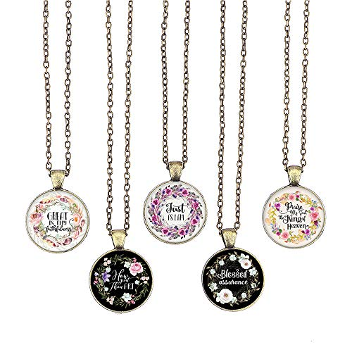 BUENAVO Bible Verse Pendant Necklace Christian Songs and Hymns Glass Cabochon Pendant Inspired Necklace with 24 inches Chain Handmade for Gifts 5pcs (Bible 2, Hymns)