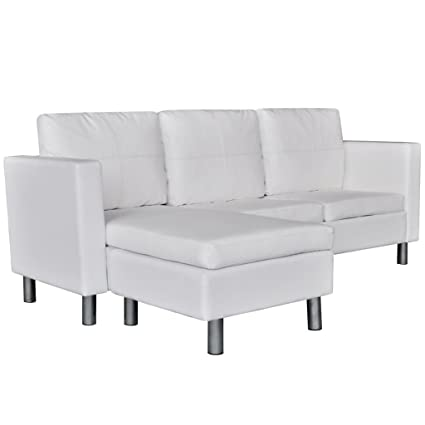 Amazon.com: Sectional Sofa 3-Seater Artificial Leather Sofa Bed ...