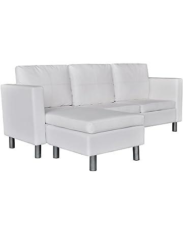 Sofá seccional de cuero artificial con 3 asientos, Blanco/Negro mueble de casa