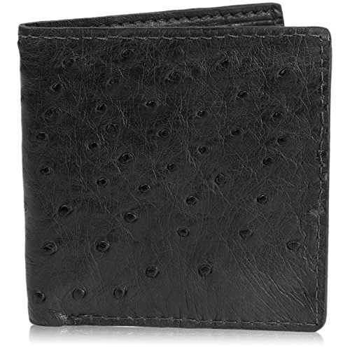 Black Genuine Ostrich Skin Leather Hipster Wallet Handmade with 12 Card Slots