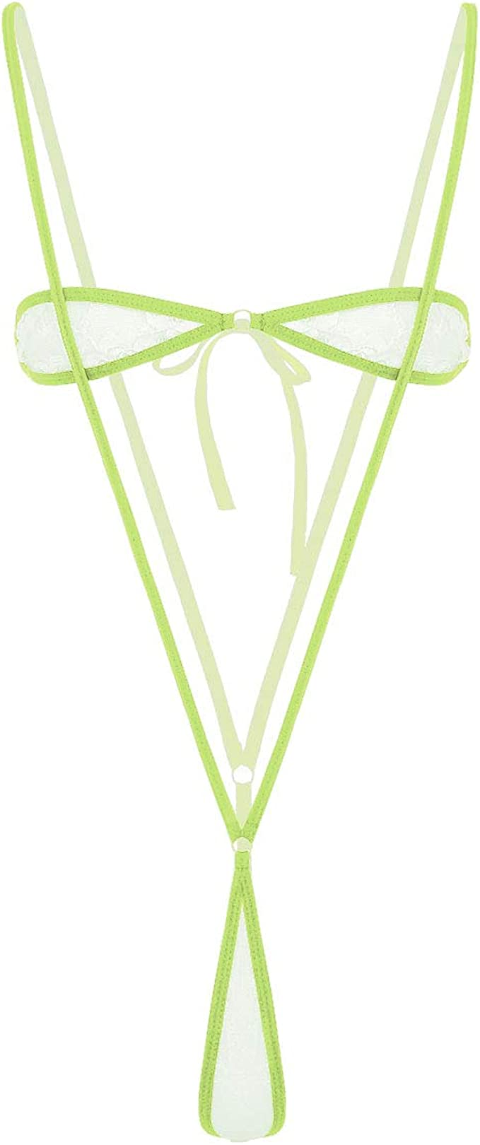 iEFiEL Transparent Micro Bikini Set Spitze Bikinis mit Strings Tanga Tankini Slip Neckholder Top BH Bandeau Badeanzug Bademode Bandage Schwimmanzug