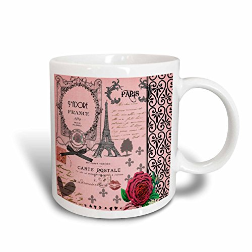 3dRose Vintage Pink Paris Collage Art, Eiffel Tower, Red Rose, Black Bow, Swirls, Ceramic Mug, 15-Oz