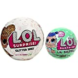 L.O.L. Surprise Glitter Series Ball and LOL Surprise Lil Outrageous Littles Lil Sisters Series 2 Lets Be Friends Mystery Pack Wave 2 Set of Two Dolls