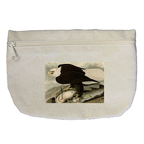 White Headed Eagle #1 (Audubon) Canvas Makeup Bag Zippered Pouch White Headed Eagle