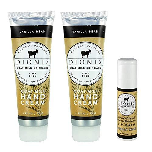 - Dionis Goat Milk Hand Cream and Lip Balm 3 Piece Gift Set (Vanilla Bean, 3 Piece)
