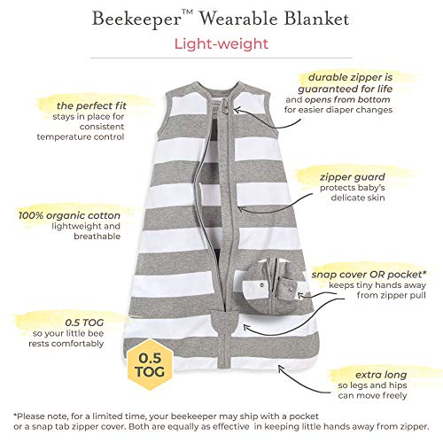 Burt's Bees Baby Baby Beekeeper Wearable Blanket, 100% Organic Cotton, Swaddle Transition Sleeping Bag, Twinkle Bee Midnight, Medium