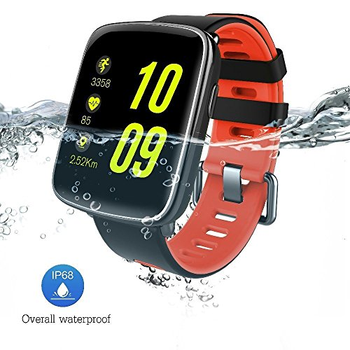 GV68 Smart Watch 1.54 inch HD LCD Display Silicone Strap,Wrist Watch Support 4.0 Bluetooth IP68 Waterproof Smartwatch Compitable for iOS and Android Red