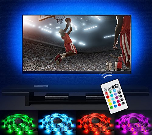 Bias Lighting LED TV Backlight Strip Emotionlite USB Powered Multi Color Changed RGB Tape for Flat Screen HDTV LCD 24keys Remote Controller (32