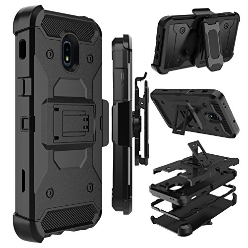 Galaxy J7 Star Case, Galaxy J7 2018 Case, Galaxy J7 Refine Case, Zenic Heavy Duty Shockproof Hybrid Full-Body Protection Case with Swivel Belt Clip and Kickstand for Galaxy J7 Aero / J7 Aura (Black)