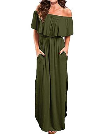 6e8517e6e0 Kidsform Womens Off The Shoulder Maxi Dress Ruffle Party Side Split Beach  Dresses with Pockets Army