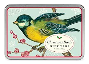 Cavallini Glitter Gift Tags Christmas Birds, 36 Assorted Gift Tags