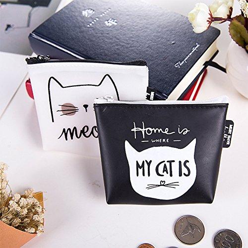 Bag Porte Silicone Organisateur Monnaie Key Zipper Vi Mini Noir Poche Chat yo Motif Rubber Pochette gqxwR718