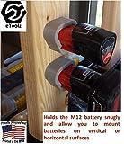 eToolz slide-in battery holder, Set of 5 heavy duty work space slide in battery dock mounts engineered to fit Milwaukee M12 Li-Ion power tool batteries (Pack of 5)
