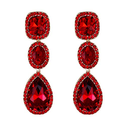 EVER FAITH Women's Crystal Gorgeous Party Square Oval Teardrop Dangle Earrings Red Gold-Tone