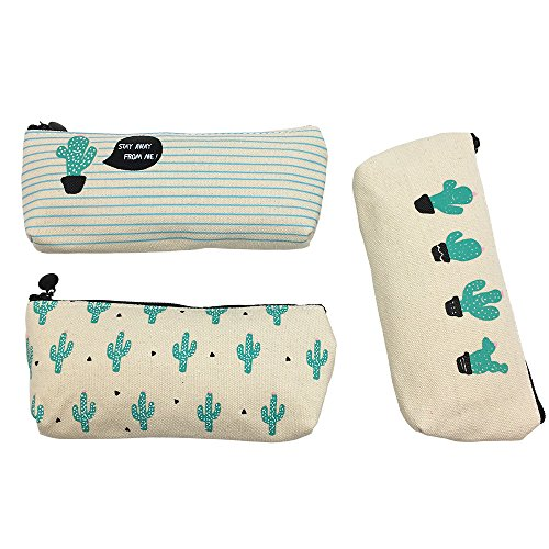 Set of 3 Cute Cactus Canvas Pen Case Pencil Bag Holder Makeup Cosmetic Pouch Bag