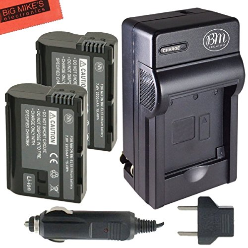 BM Premium 2-Pack of EN-EL15 Batteries and Battery Charger Kit for Nikon 1 V1, D500, D600, D610, D750, D800, D810, D810A, D7000, D7100, D7200 Camera