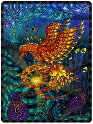Top design Fantasy Phoenix Bird Printed Blanket Sumptuously Plush Lap Warmer Winter Blankets Throw Bedspread 58