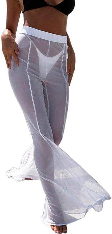 Pantalones De Verano Traje De Bano Cubrir Pantalon De Mode De Marca Playa Bikini Transparente De Malla Transparente Para Mujer Amazon Es Ropa Y Accesorios