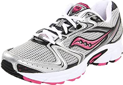 Saucony Women's Grid Cohesion 5 Running Shoe,Silver/Black/Pink,5 M US