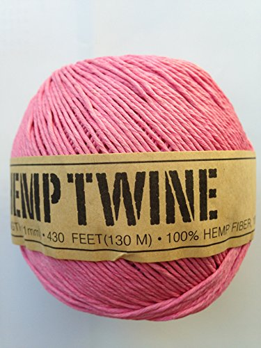(Hemp Twine Balls size 1mm, 143yd 130m 430ft each ball DIY Mulitple Color Options (Pink))