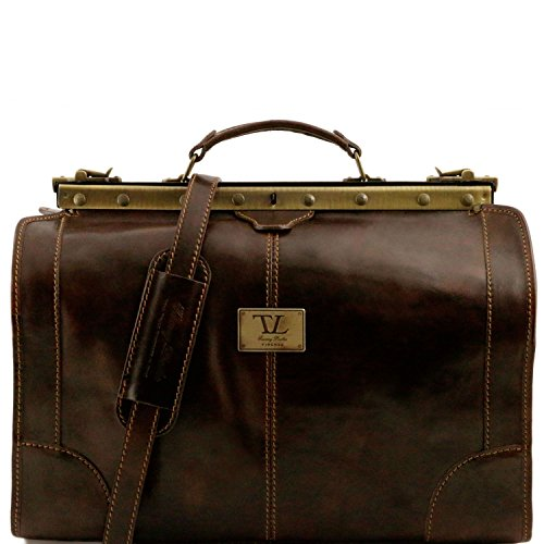 Tuscany Leather - Madrid - Gladstone Leather Bag - Small size Dark Brown - TL1023/5 by Tuscany Leather