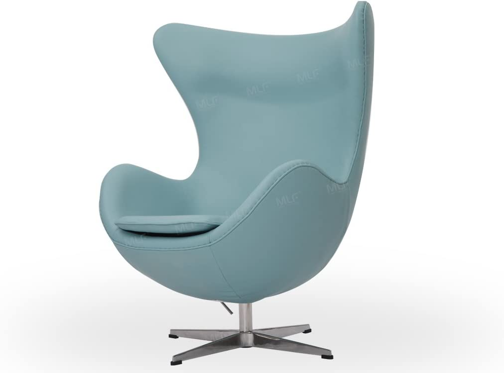 Amazon Com Mlf Arne Jacobsen Egg Chair In Blue Italian Leather Famous Modern Design 5 Colors Home Kitchen