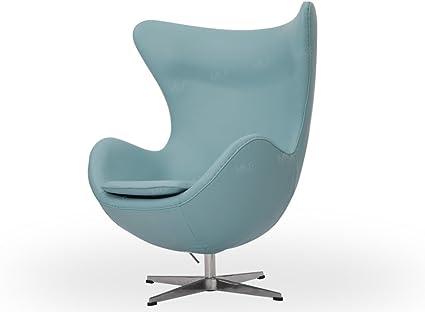 Egg Chair Jacobsen.Mlf Arne Jacobsen Egg Chair In Blue Italian Leather Famous Modern Design 5 Colors