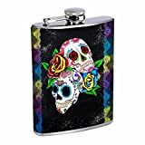 8oz Liquor Flask with love sugar skull Stainless Steel Drinking Flask with Personality Designer Flask Gift for Women and Men