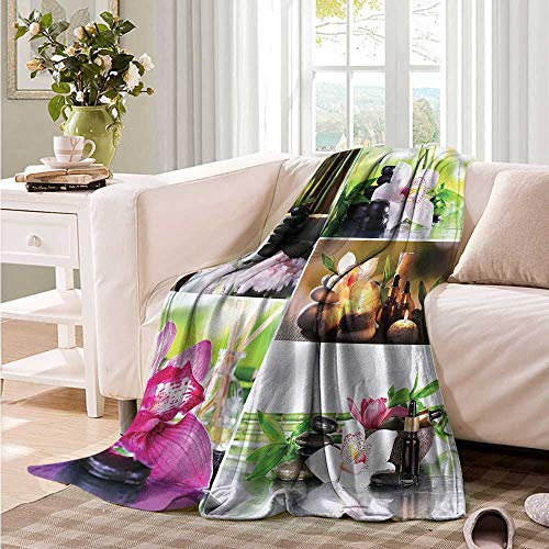Comfort Blanket Spa Orchids Stone Pebbles Zen Theme car/Airplane Travel Throw 93